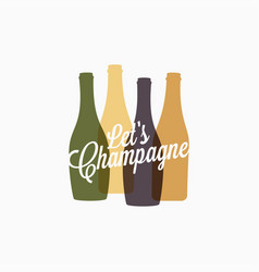 champagne bottle logo champagne color banner icon vector image