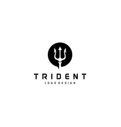 Circular trident logo neptune god poseidon triton vector