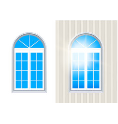 Closed italian window isolated on white layered vector