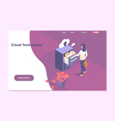 cloud technology dataonline computing hosting 3d vector image