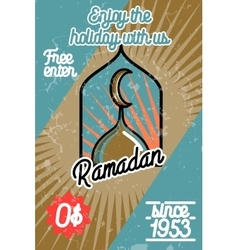Color vintage ramadan banner vector