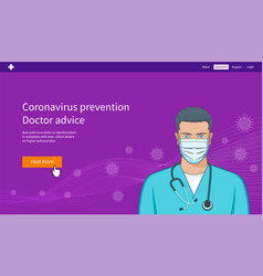 concept young man with mask and stethoscope vector image