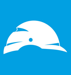 Construction helmet icon white vector
