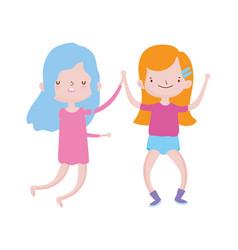 cute little girls holding hands friends cartoon vector image