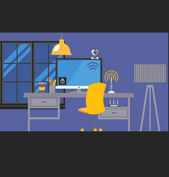 desktop workplace with electronic gadgets and vector image