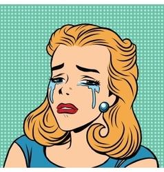Emoji retro tears cry girl emoticons vector image