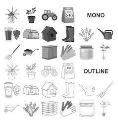 Farm and gardening monochrom icons in set vector