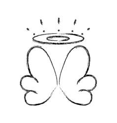 Figure nice aureole and wings angel design vector