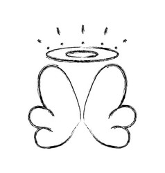 Figure nice aureole and wings of angel design vector