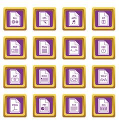 file format icons set purple vector image