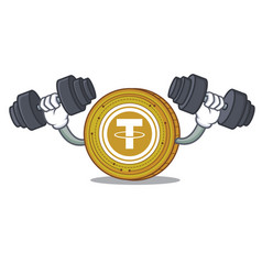 Fitness tether coin character cartoon vector