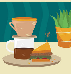 Flat kalita with sandwich on table vector