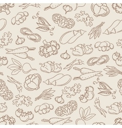 Food seamless pattern with vegetables vector