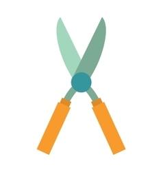 Gardening scissors hand work and steel equipment vector image