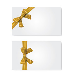 gift card template gold ribbon with bow realistic vector image