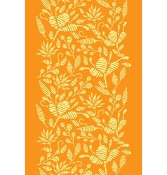 Golden floral embroidery vertical border seamless vector