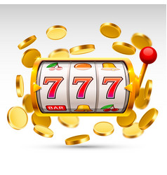 Golden slot machine wins the jackpot vector