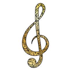 golden treble clef vector image