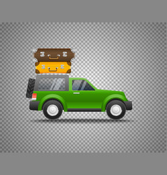 Green car with baggage isolated on transparent vector