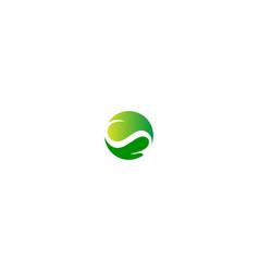 green leaf circle organic logo vector image
