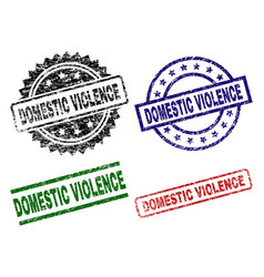 Grunge textured domestic violence stamp seals vector
