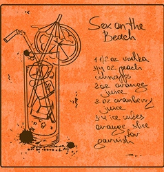 Hand drawn sex on beach cocktail vector