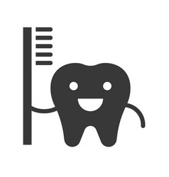 Happy cute tooth carrying toothbrush dental vector