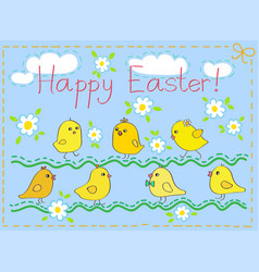 happy easter card with chickens vector image