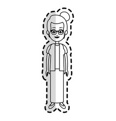 Happy pretty woman cartoon with glasses icon image vector