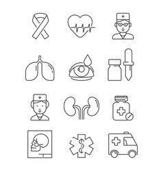 health care line icons medical stroke symbols vector image