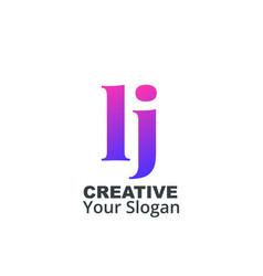 Initial letter lj lowercase design logo template vector
