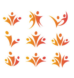 Isolated abstract orange color people unity logos vector