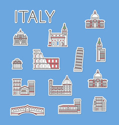 Italian traveling labels set in linear style vector