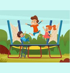 jumping trampoline kids active children games on vector image