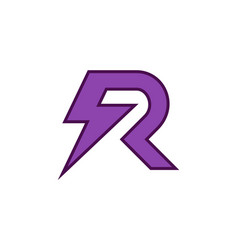 letter r thunderbolt logo icon vector image