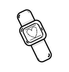 line cute smartwatch technology with fitness app vector image