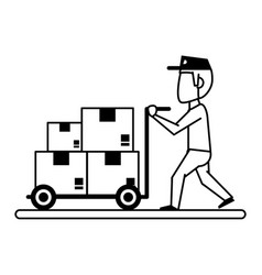 Mailman with package icon image vector