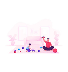 man and small boy gaming fun happy family dad vector image