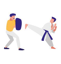 man and sparring practicing martial arts vector image