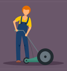 Man holding grass cutter icon flat style vector