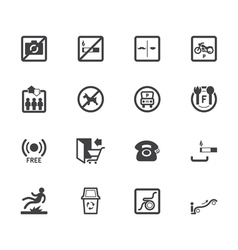 Market store element black icon set vector