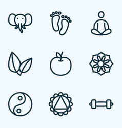 Meditation icons line style set with leaves feet vector