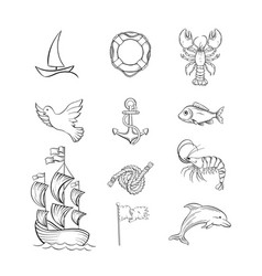 ocean themed black and white set vector image