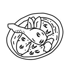 Opor ayam icon doodle hand drawn or outline icon vector