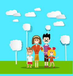 people in nature happy family with paper cut flat vector image