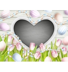 Pink tulips with blank blackboard EPS 10 vector