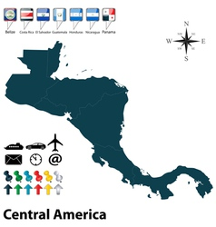 Political map of central america vector