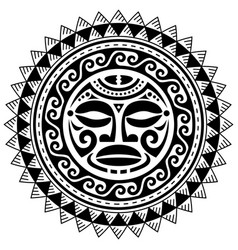 polynesian mandala with maori face pattern vector image