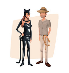poster with couple cat woman and explorer man vector image