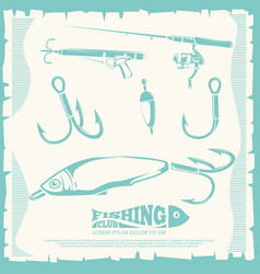 Poster with fishing accesories and equipment vector